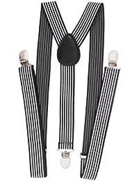 Élastique Tissu Motif Rayure Unisexe Bretelles Réglables Noir Blanc