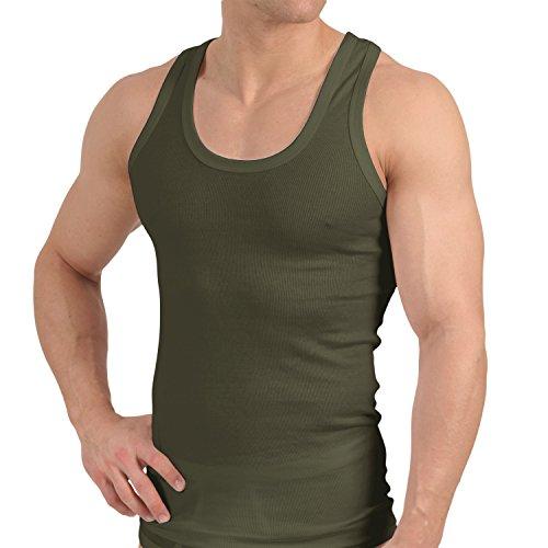 Herren Unterhemd Feinripp Exclusive Olive-9 (2x1 Rib Baumwolle Tank Top)