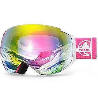 YAKAON Skibrille Herren Damen Jugend, Y3 Sphärisch Snowboard Brille Verspiegelt OTG UV-Schutz Anti Nebel Helmkompatible Schneebrille