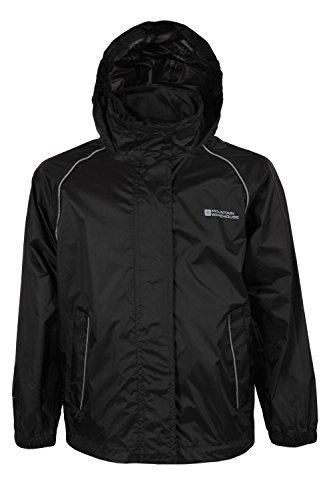 Mountain Warehouse Pakka Kids Waterproof Foldable Jacket Pack Away Rain Coat Black 13 years