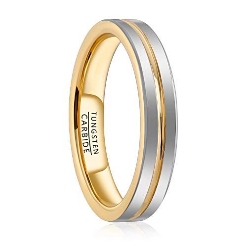 Natur Fashion - Herren Damen Wolfram 4mm Ring Gold Weißgold Größe 49 (15,7 mm) (4 Herren Größe Ring)