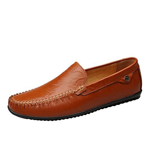 Sk studio mocassini da uomo pelle piatte loafers eleganti comfort scarpe da barca slip on nero casuale scarpe di guida marrone chiaro