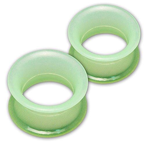 Fly Style 1 Paar Silikon Tunnel Plug Extra Weich 10 Farben (4-30 mm), Grösse:8 mm, Farbwahl:grün (Glow in The Dark)