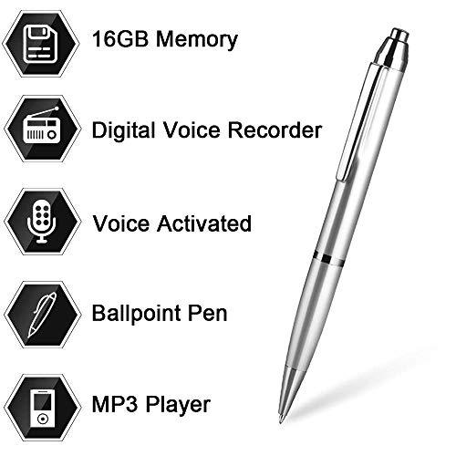 16 GB Digital Voice Recorder-Stift von Aizhy, Pocket Voice Activated Recorder-Stift, Diktiergerät, MP3-Player 3-in-1 mit Mini-USB-Laufwerk, One-Button-Aufnahme und Speichern perfekter Sprache