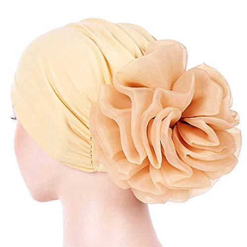 Frauen-Blumen-elastischer Turban Mütze Hauptschal wickelt Chemo-Kappe Cancer Patient (Khaki)