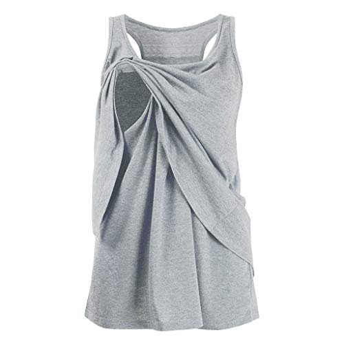 Double Wrap Bluse (Mutterschaft T-Shirt Frauen Tank Tops Pflege Wrap Double Layer Sleeveless Sommer Sleeveless Umstandsmode T-Shirts Cute Solid Umstandsmode Peeking Cotton Schwangerschaft Tops Weste)