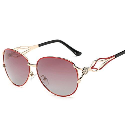 VeBrellen Damen Polarisierten Sonnenbrillen Driving Gläser Eyewear Schutzbrillen Blumen Dekoration (Rot, 62)