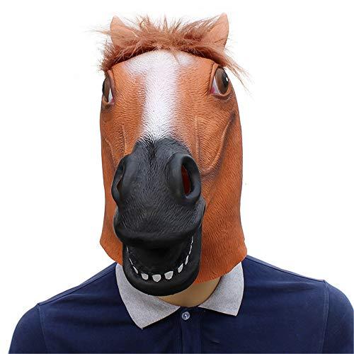 Black Kostüm Head Horse - FZTX-ZJJ Halloween-Maske Black Horse Head Mask Halloween-Maskerade-Show Niedliche Naturlatex-Tierrequisiten,Braun
