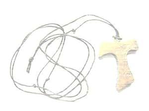 TAU OLIVE WOOD Pendant Necklace Cross Crucifix 4cm by rosarybeads