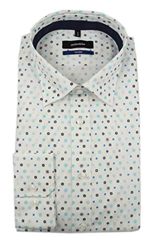 Seidensticker Herren Langarm Hemd Tailored Button-Down-Kragen Covered BD Patch2 Popeline Print 249092 (Weiß, 40) -