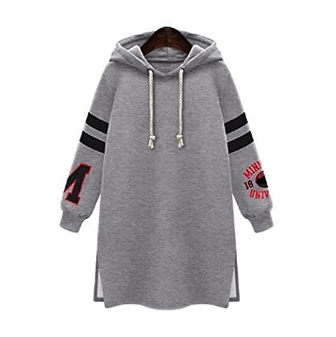 OverDose,Sweat Robe à Capuche Grande Taille Hiver Femme Sweat à Capuche Oversize Hoodie Sweatshirt Tops (52, Gris)