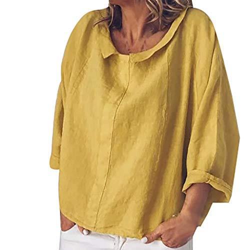 iYmitz 3/4-Arm Damen Streetwear Einfarbig Rundausschnitt Leinen Frauen Freizeit Bluse Sommer Freizeithemd(Gelb,EU-42/CN-XL) (Gestreifte Shorts Kostüm)