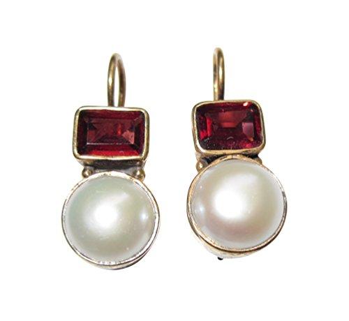 Nach antikem Vorbild: Klassische Perlen-Ohrringe echte Perle Granat rot Hänger Haken verschließbar Silber vergoldet Unikat Handarbeit Italien