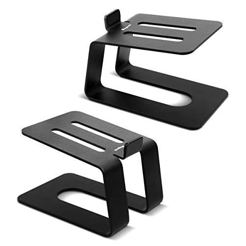 Stageek Desktop Lautsprecher Ständer Alu, Paar, Universal Boxenständer Schreibtischständer für kleine, mittlere Computer-Regallautsprecher, Schwarz