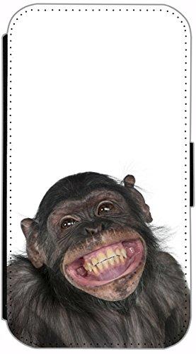 Flip Cover für Apple iPhone 4 / 4s Design 162 Affe Braun Hülle aus Kunst-Leder Handytasche Etui Schutzhülle Case Wallet Buchflip (162) 162