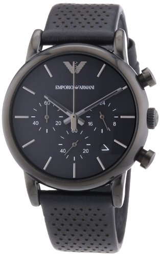 Emporio Armani Men's Quartz Watch with Black Dial Chronograph Display and Black Leather Bracelet AR1737