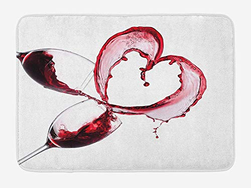 OQUYCZ Wine Bath Mat, Heart with Spilling Red Wine in Glasses Romantic Love Valentines Day Concept, Plush Bathroom Decor Mat with Non Slip Backing, 23.6 W X 15.7 W Inches, Burgundy White Pink -