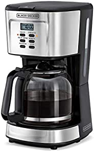 Black+Decker Programmable Coffee Maker 900W 12 Cups, DCM85-B5, Black/Silver, 2 Year Manufacturer's Warr
