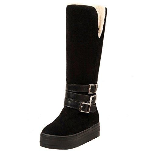 RAZAMAZA Femmes Hiver Genoux Boots Boucle Bottes Compense Talon Biker Bottes chaudes Black