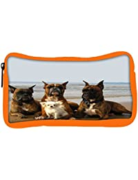 Snoogg Eco Friendly Canvas Dog'S Make Friends Student Pen Pencil Case Coin Purse Pouch Cosmetic Makeup Bag