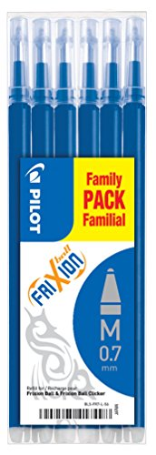 Pilot Pen Frixion recharge de 0,7 mm Pack Of 6 bleu