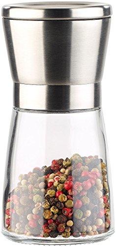 PEARL Salzmühle: Manuelle Gewürzmühle mit Keramik-Mahlwerk, Glas und Edelstahl, 13 cm (Gewürzmühle mit Keramikmahlwerk)