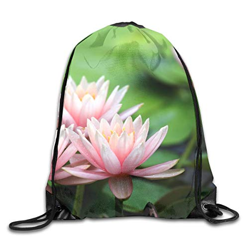 HLKPE Pink Water Lilies Dew Drawstring Bag for Traveling Or Shopping Casual Daypacks School Bags
