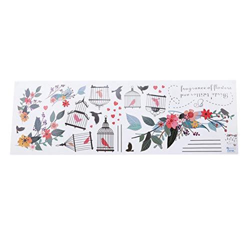 Preisvergleich Produktbild YUGEHLK Removable Wandaufkleber Kinderzimmer Dekoration Aufkleber für Schlafzimmer Wohnzimmer Hintergrund Vogelkäfig Blume Wohnzimmer Schlafzimmer Wandaufkleber Farbe als Beschreibung