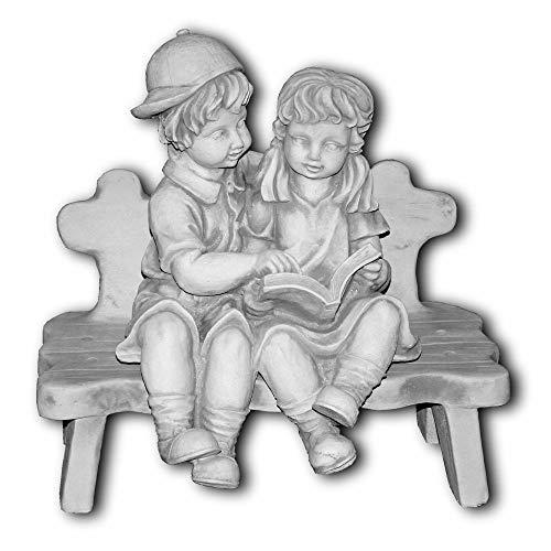Engel Bank (gartendekoparadies.de Massive Steinfigur Kinderfigur Junge Mächen mit Bank Steinguss frostfest)