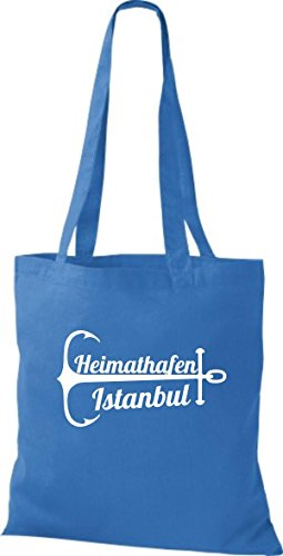 ShirtInStyle Stoffbeutel Baumwolltasche Heimathafen Istanbul royal