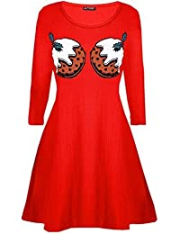 Womens Xmas Christmas Pudding Cup Cakes Boobs Funny Novelty Swing Dress
