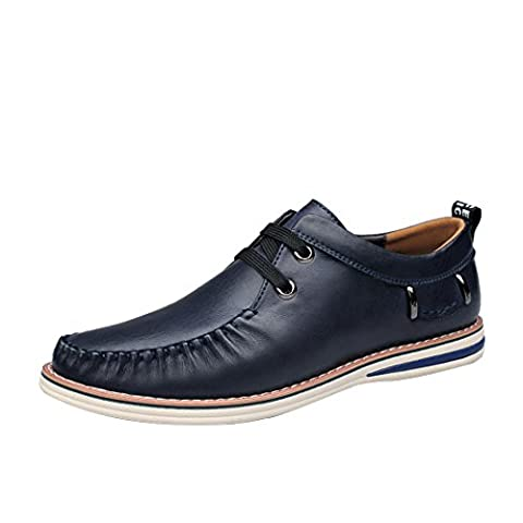 Spades & Clubs Mens Trendy Spring Italian Style Genuine Casting Leather Vogue Casual Soft Loafers Shoes Size 10 UK Blue