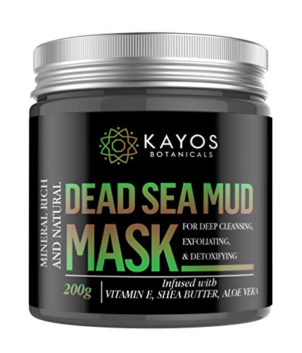 Kayos Dead Sea Mud Face Mask - 100% Natural Spa Quality for Acne, Blackheads, Oily Skin, Pore Reducer - 200g