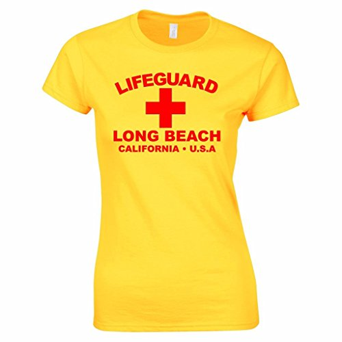 Damen Lifeguard Long Beach California USA Surfer Beach Kostüm T-Shirt Gelb M