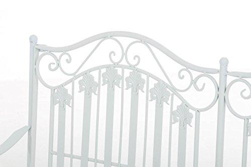 CLP Metall-Gartenbank RONJA im Landhausstil, Eisen lackiert, 108 x 55 cm, 2er Sitzbank Weiß - 4
