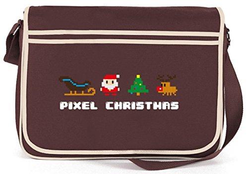 Pixel Christmas, Weihnachten Winter Retro Messenger Bag Kuriertasche Umhängetasche Braun