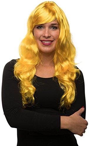 Balinco Sexy Langhaar Damen Frauen Perücke lockig / gewellt für Fasching Karneval Motto Party - 13 Farben (Gelb)