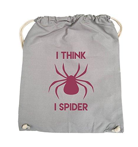 Borse Comiche - Penso Che Io Spider - Turnbeutel - 37x46cm - Farbe: Schwarz / Pink Hellgrau / Fuchsia