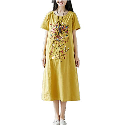 Tongxi Lose Sommerkleid Kurzarm weicher Baumwolle Leinen Mode Stickerei Floral Plus Size Casual Dress Womennew Kleider -