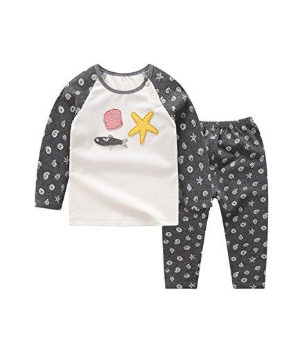 Weihnachten Pyjama Kinder Schlafanzüge Thermounterwäsche Baumwolle Unisex Muschelschale Weihnachten Schwarz 5-6 Jahren (Ski Line Kleidung)