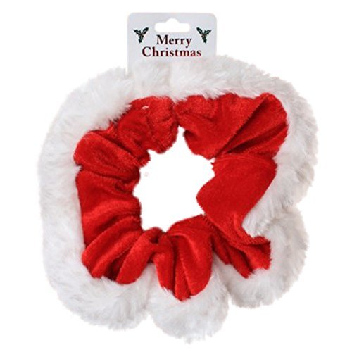 Christmas Red Velvet and White Fur Trim Hair Scrunchie Bobble Elastic Hair Band by Pritties Accessories -