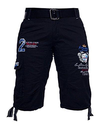 Marine Corps Herren Short Sommer Bermuda kurze Hose Royal Polo mit Gürtel H-034 Blau Gr. 33 (Shorts Polo Chino)