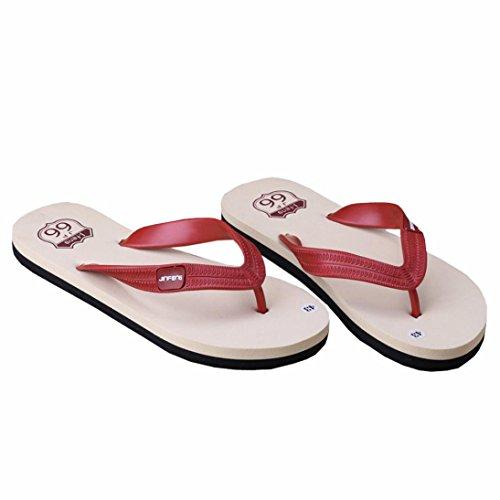 Flip Flops, Holeider Männlich Slipper Sommer Zehentrenner Indoor oder Outdoor Rot