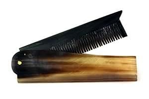 Peigne à barbe élégant en corne de buffle, pliable