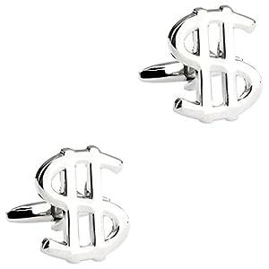 CIFIDET Silber USD US Dollar Manschettenknöpfe Fashion Herren Hemd Manschettenknöpfe mit Geschenk-Box