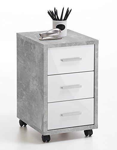 lifestyle4living Rollcontainer mit weißen Schubladen, Grau | Rollschrank | Unterschrank |...