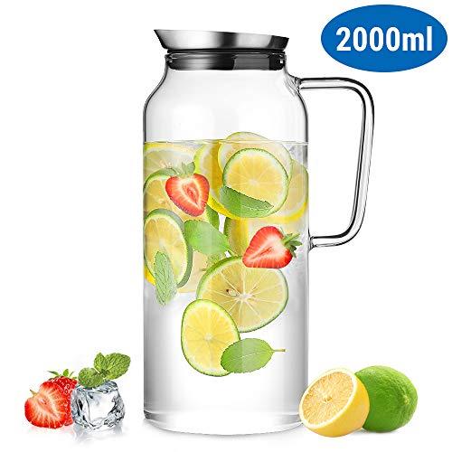 ecooe Glaskaraffe 2000ml (Volle Kapazität) Glaskrug aus Borosilikatglas Wasserkrug mit Edelstahl Deckel Karaffe Glaskanne