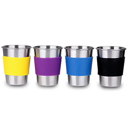 be2c589c93d8 Unbreakable Metal Kids Drink Cups 11 oz Stainless Steel Drinking Glasses  with Silicone Sleeve set of 4 for Home and Outdoor Activities