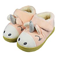 Tirzrro Little Kids Toddler Cute Monster Winter House Slippers with Soft Memory Foam Rubber Sole Size 11-12 US Pink
