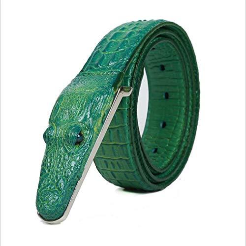 PIDAIKING Gürtel,Herren Gürtel Rindleder Krokodil Muster Modellierung Legierung Schnalle Gürtel Für Männer Business Casual Male Gurt, 110 cm. -